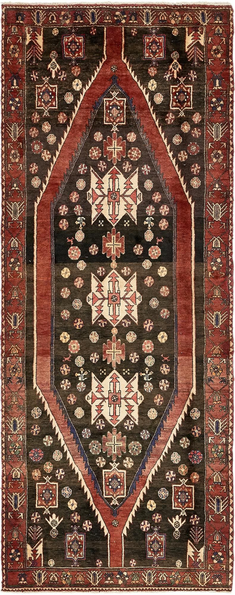 4' 6 x 11' 1 Mazlaghan Persian Runner Rug main image