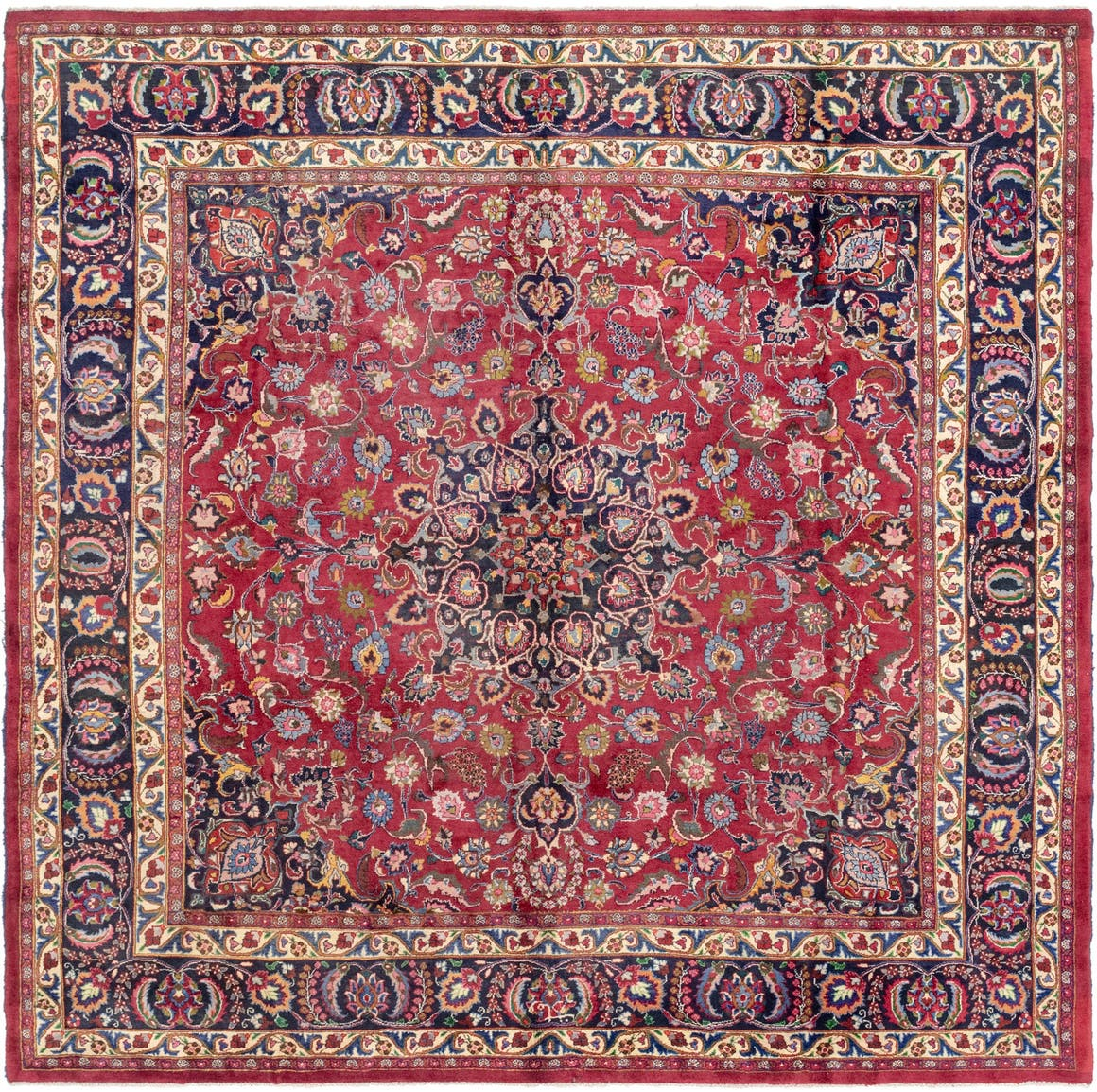 9' 9 x 10' Mashad Persian Square Rug main image