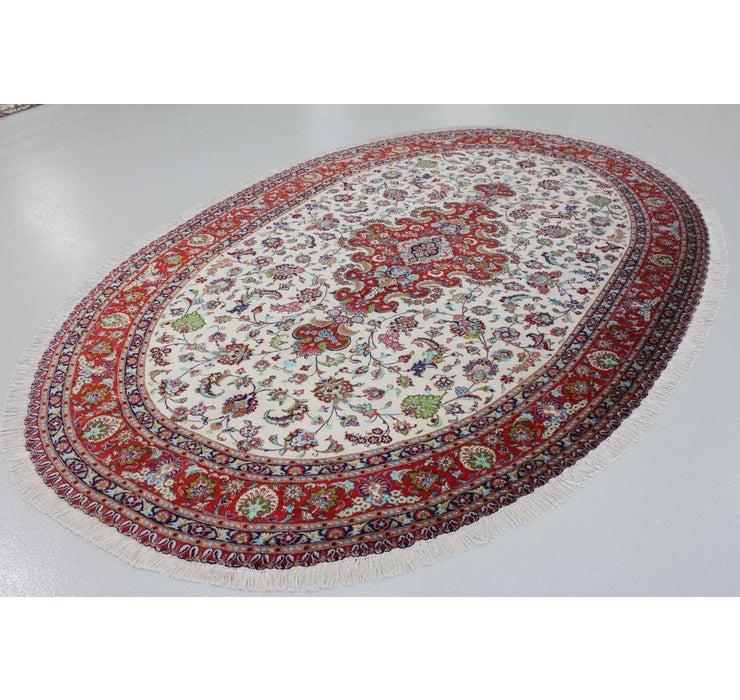 6' 7 x 11' 2 Qom Persian Oval Rug