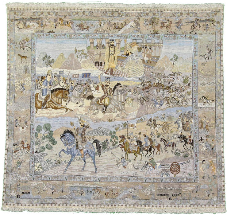 Image of 8' 9 x 9' 5 Tabriz Persian Square Rug