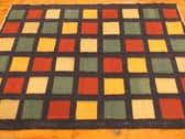 4' 3 x 5' 10 Checkered Modern Kilim Rug thumbnail
