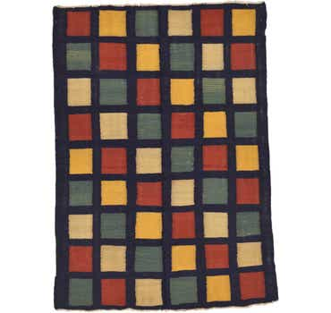 Image of 4' 3 x 5' 10 Checkered Modern Kilim ...