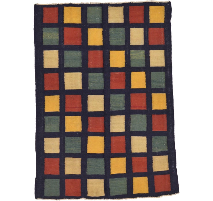 Image of 130cm x 178cm Checkered Modern Kilim ...