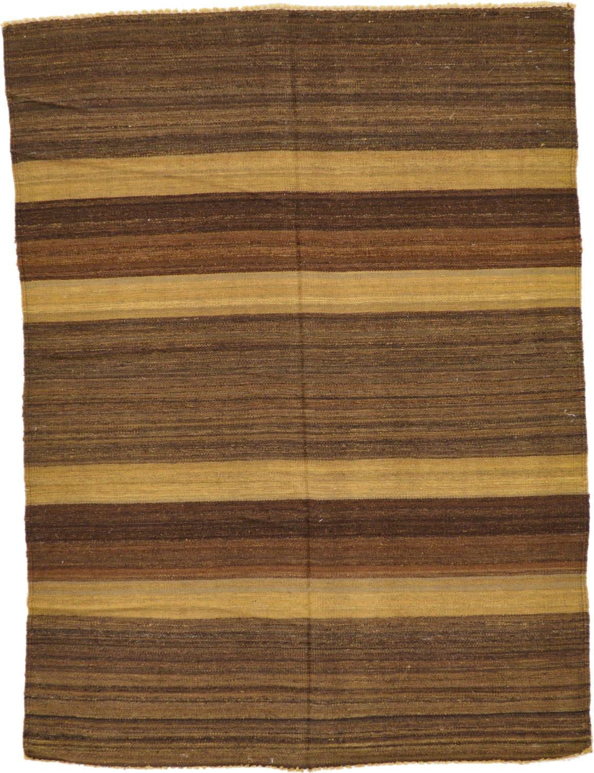 4' 2 x 5' 7 Striped Modern Kilim Rug main image