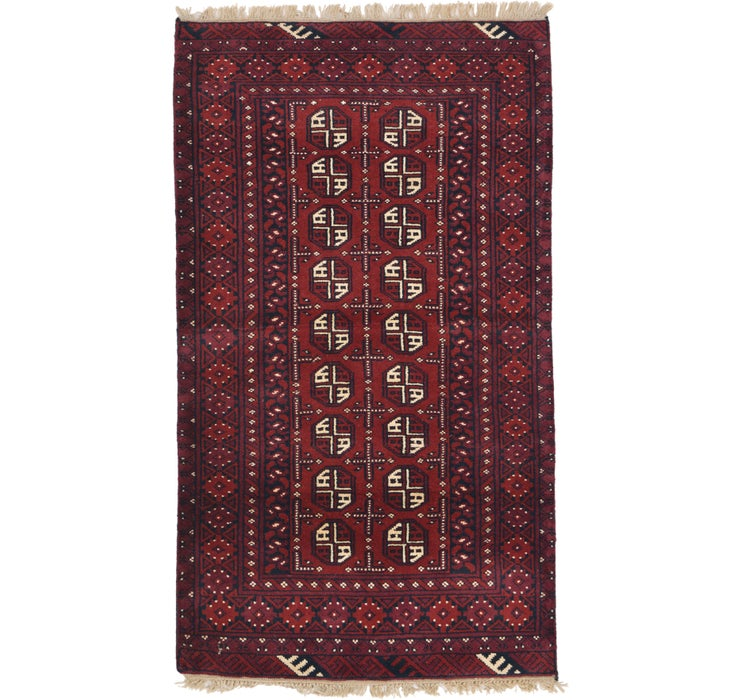 3' 5 x 5' 11 Afghan Akhche Rug