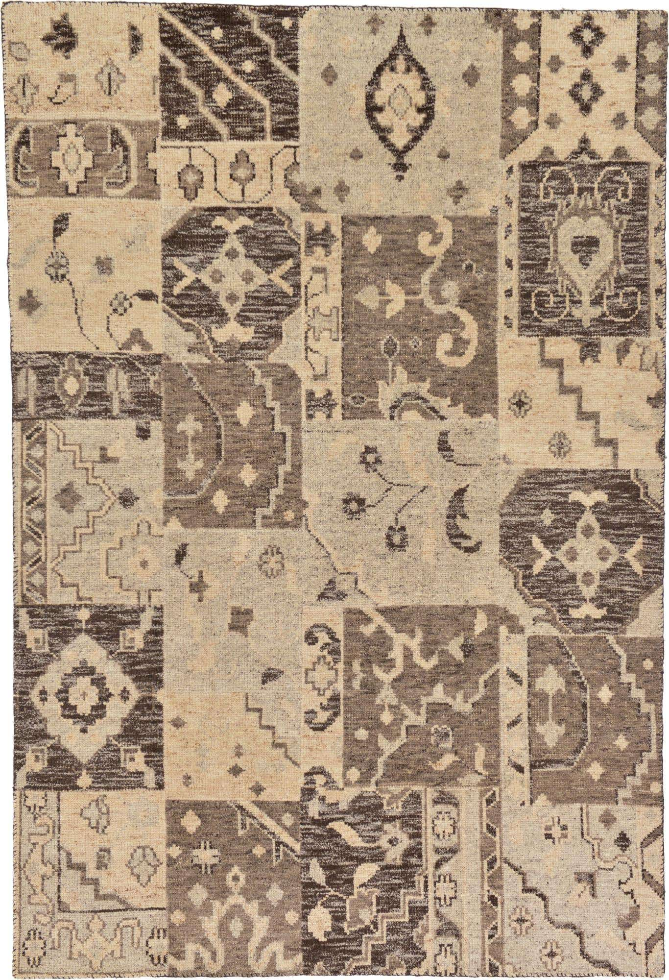 Beige 6 6 X 9 7 Patchwork Rug Handknotted Com