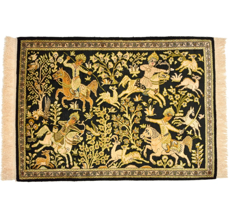 58cm x 80cm Qom Persian Rug