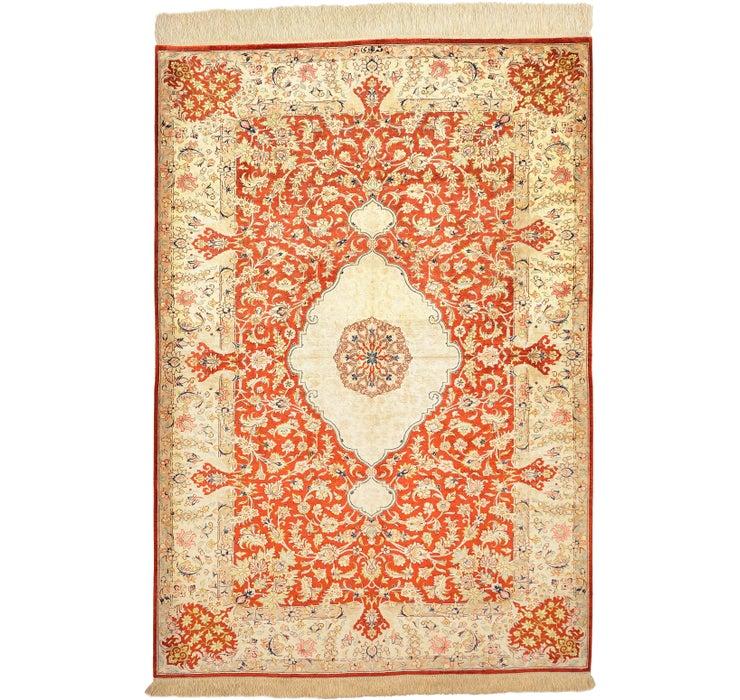 Image of 3' 5 x 4' 11 Qom Persian Rug
