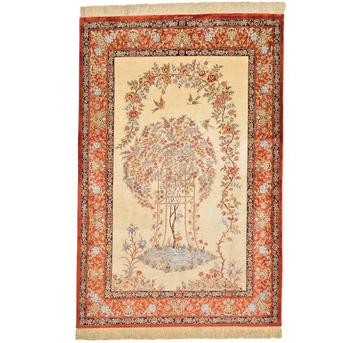 102cm x 152cm Qom Persian Rug