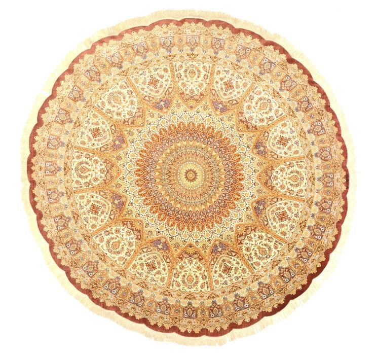10' x 10' Qom Persian Round Rug