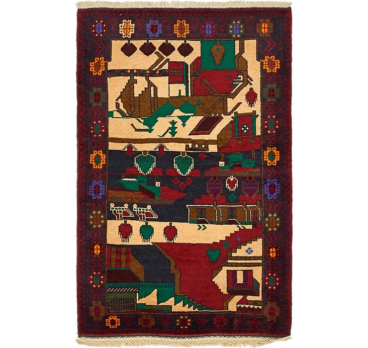 90cm x 142cm Balouch Persian Rug