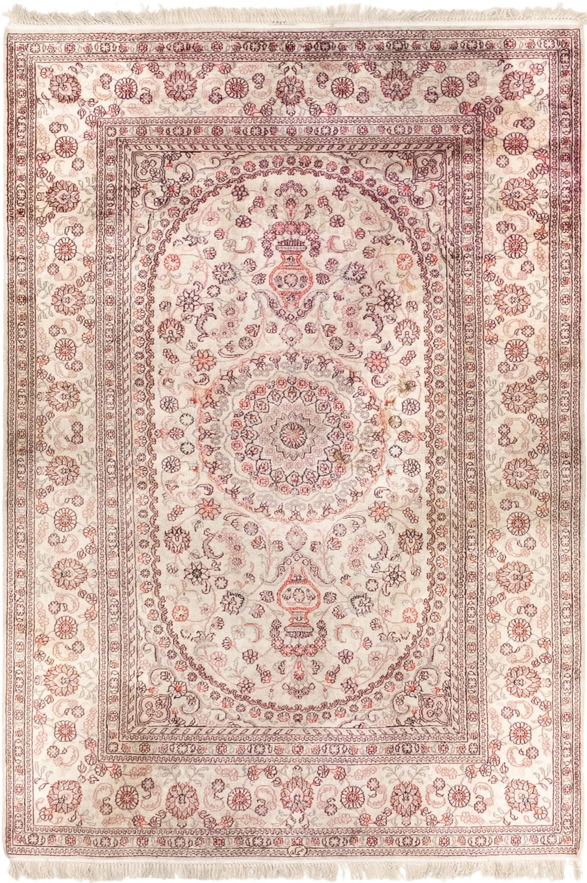 Beige 4 X 6 Kashmir Oriental Rug