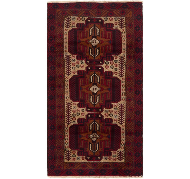 3' 3 x 6' 3 Balouch Persian Rug