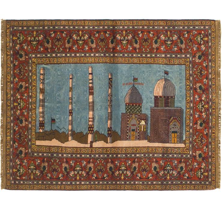 4' x 5' 3 Qom Persian Rug
