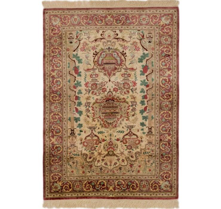 Image of 3' 3 x 4' 9 Qom Persian Rug