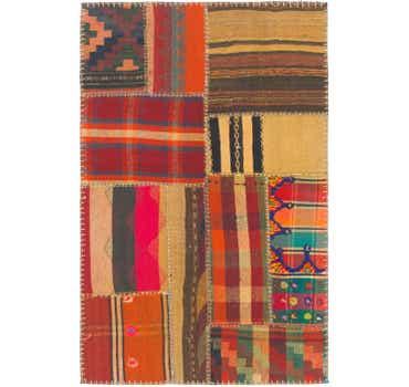 Image of 2' 8 x 4' Kilim Patchwork Rug