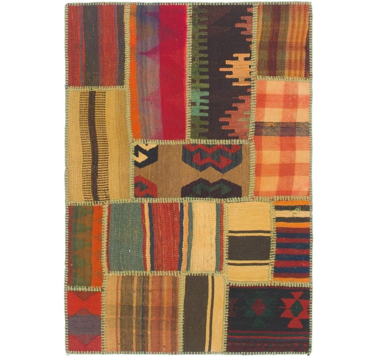 Image of 2' 8 x 4' Kilim Patchwork Rug