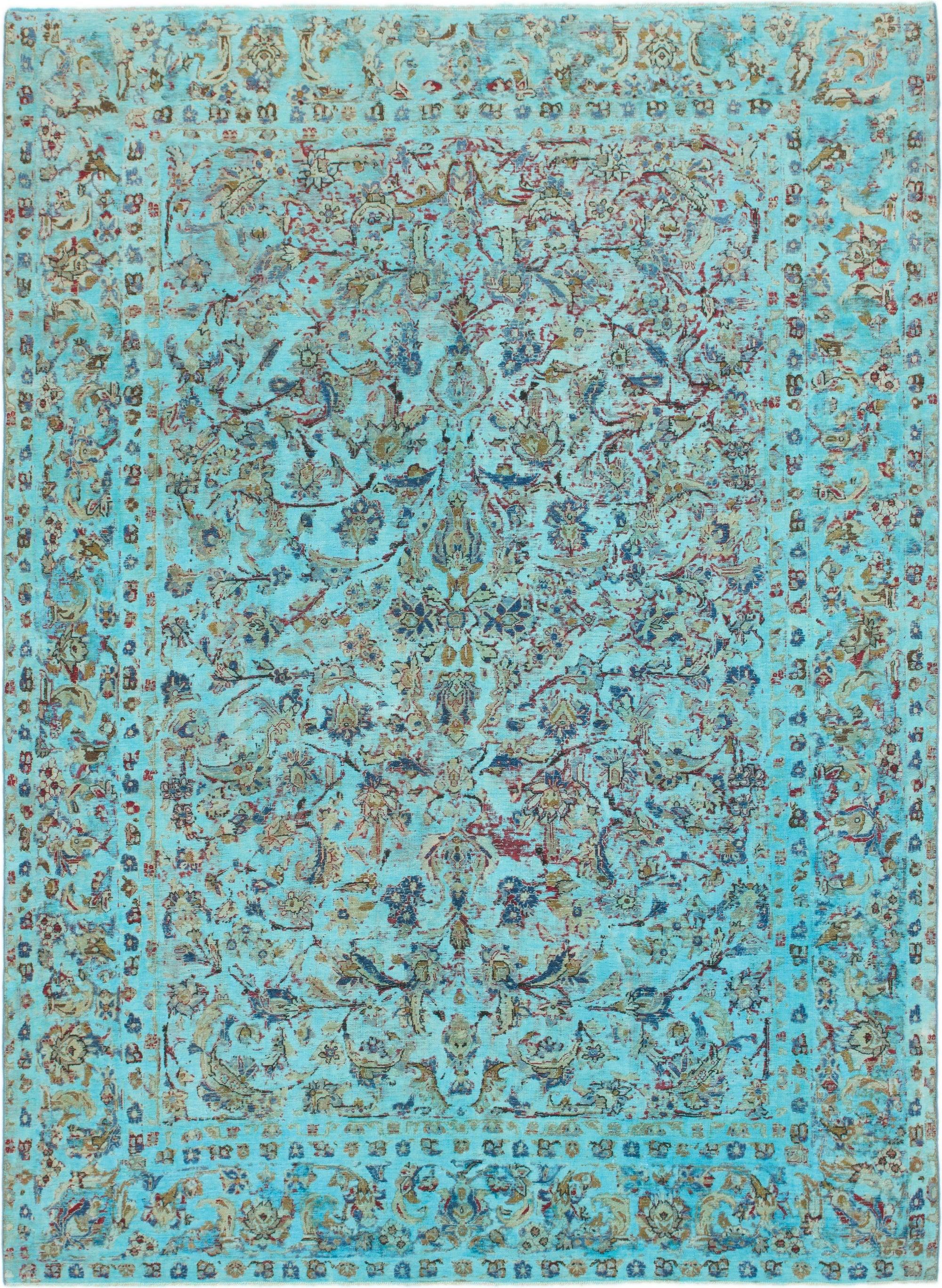 Turquoise 8 X 11 Ultra Vintage Persian Rug Irugs Uk
