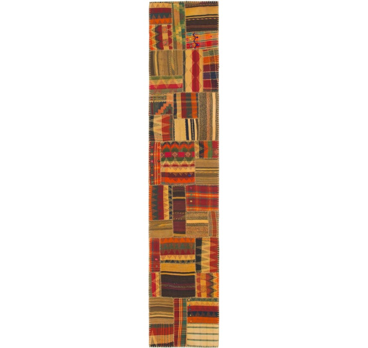 Image of 80cm x 400cm Kilim Patchwork Runner ...