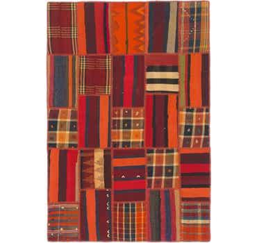 Image of 4' x 5' 10 Kilim Patchwork Rug