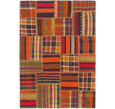 Image of 4' 2 x 5' 10 Kilim Patchwork Rug