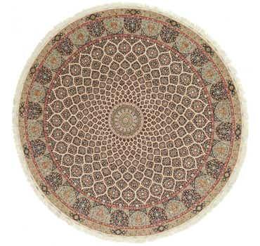Image of 12' 10 x 12' 10 Tabriz Persian Round Rug