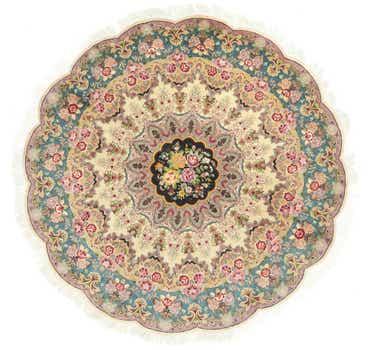 Image of 6' 6 x 6' 6 Tabriz Persian Round Rug