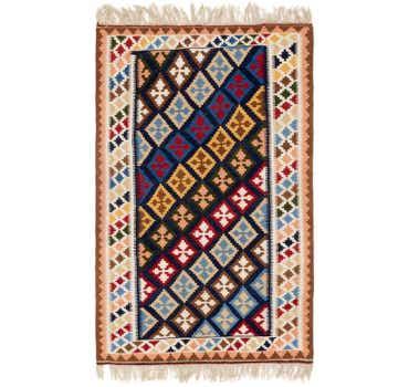 Image of 4' 2 x 6' 7 Kilim Fars Persian Rug