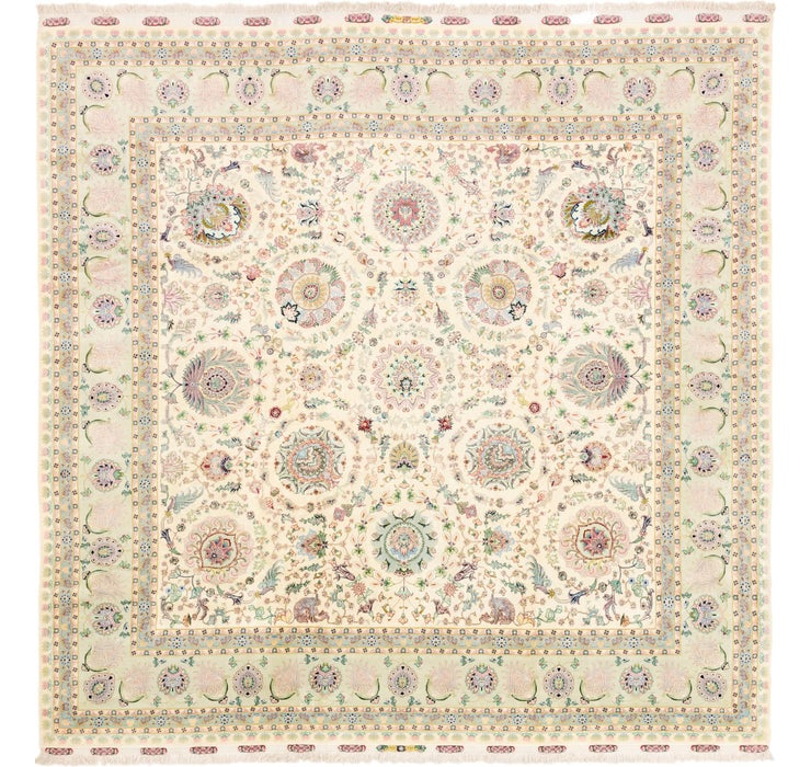 11' 3 x 11' 6 Tabriz Persian Square Rug