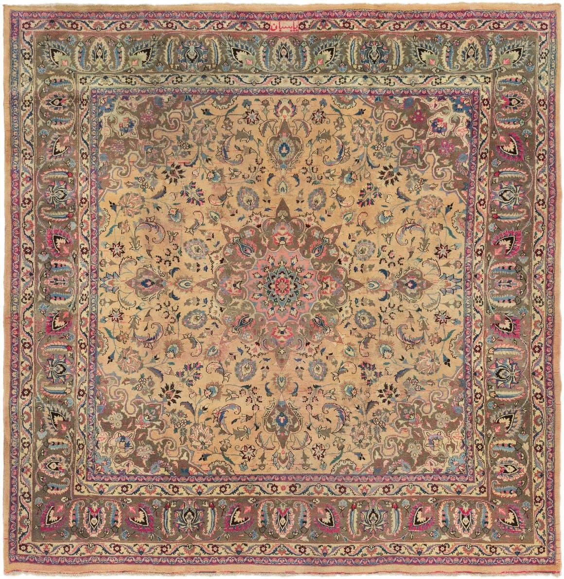 9' 6 x 10' Mashad Persian Square Rug main image