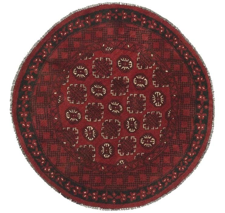 3' 10 x 3' 10 Afghan Akhche Round Rug