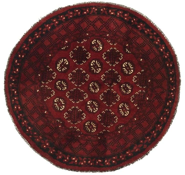 3' 10 x 3' 11 Afghan Akhche Round Rug