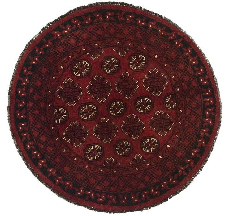3' 4 x 3' 5 Afghan Akhche Round Rug