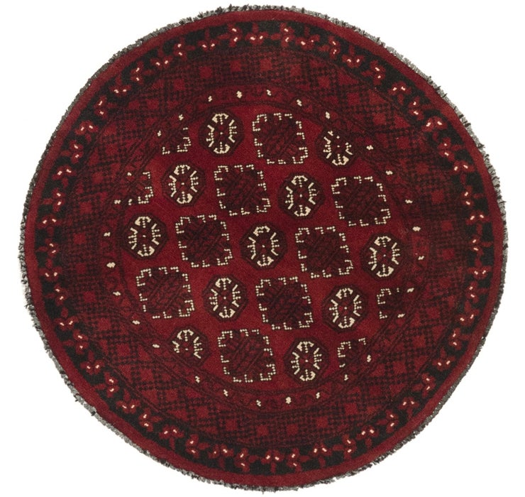 3' 3 x 3' 4 Afghan Akhche Round Rug