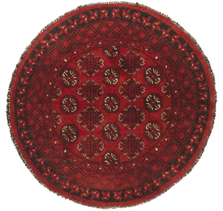 3' 4 x 3' 7 Afghan Akhche Round Rug