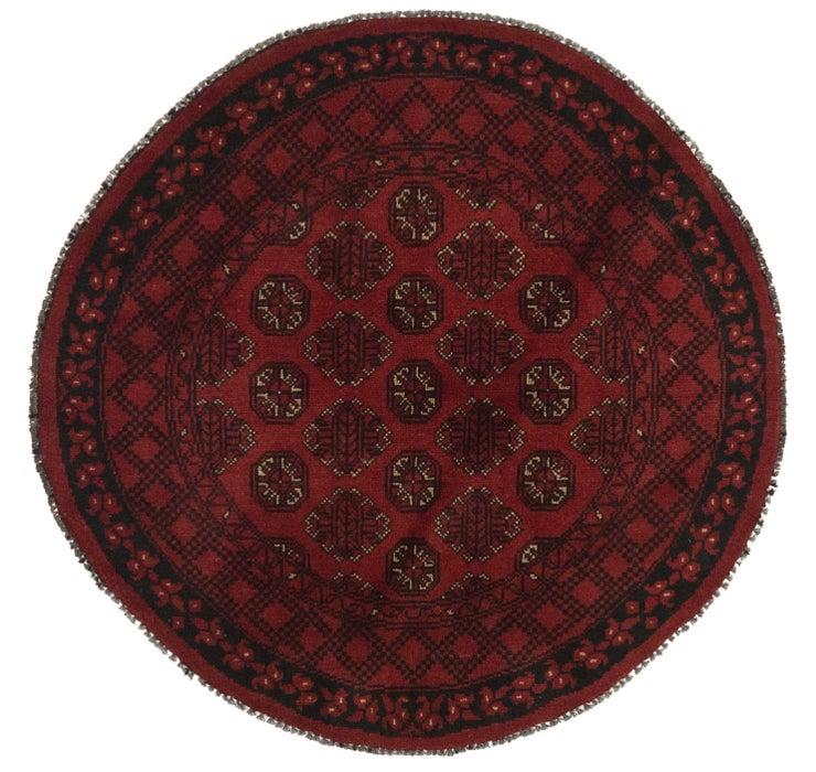 4' x 4' Afghan Akhche Round Rug