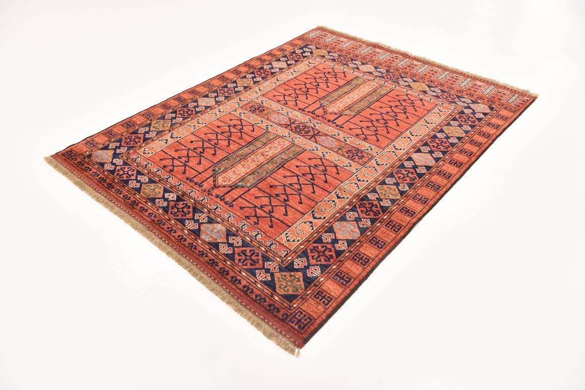 Red  5' x 6' 6 Afghan Ersari
