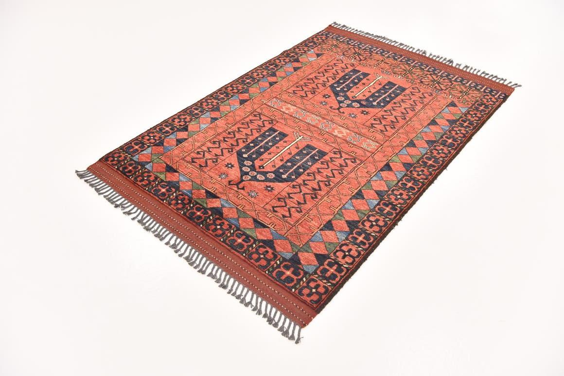 Red  4' x 6' 1 Afghan Ersari
