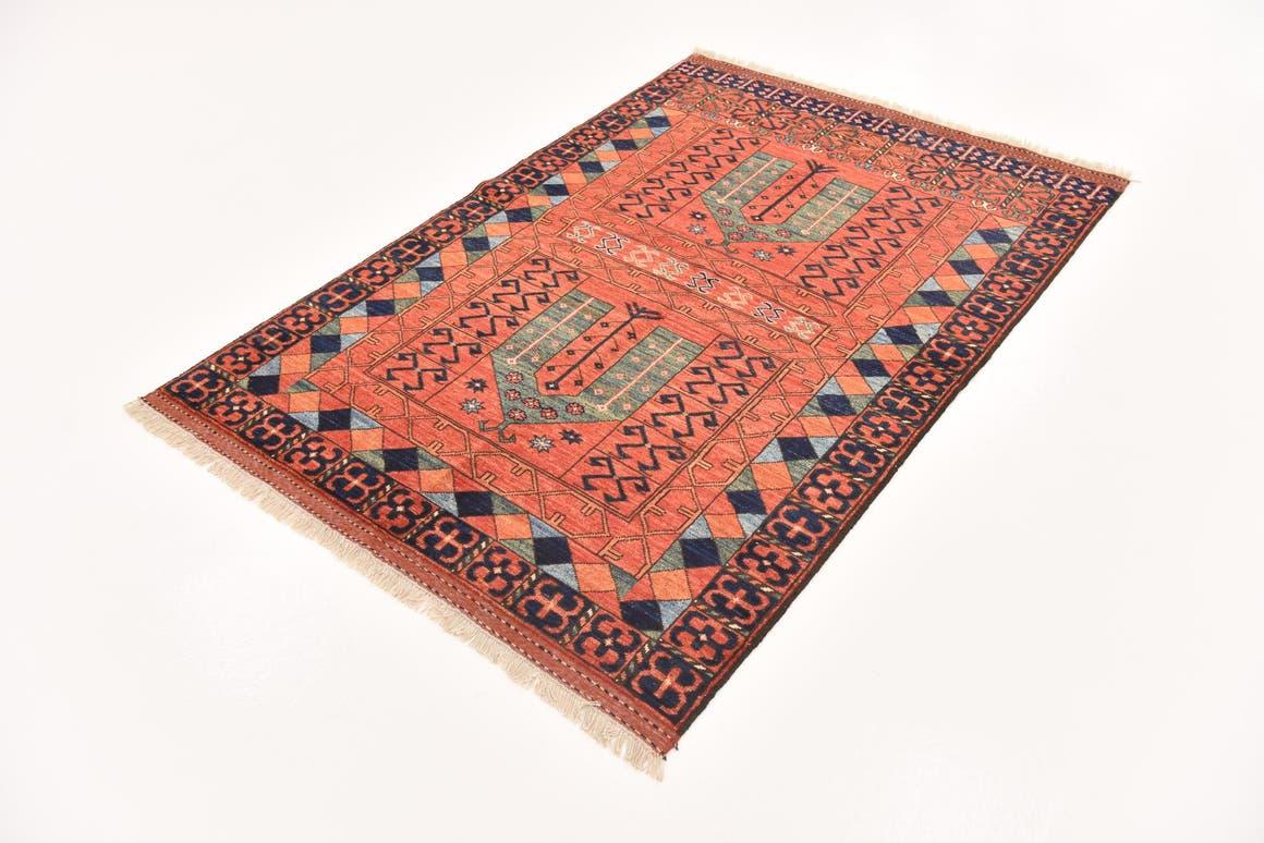 Red  4' x 6' Afghan Ersari