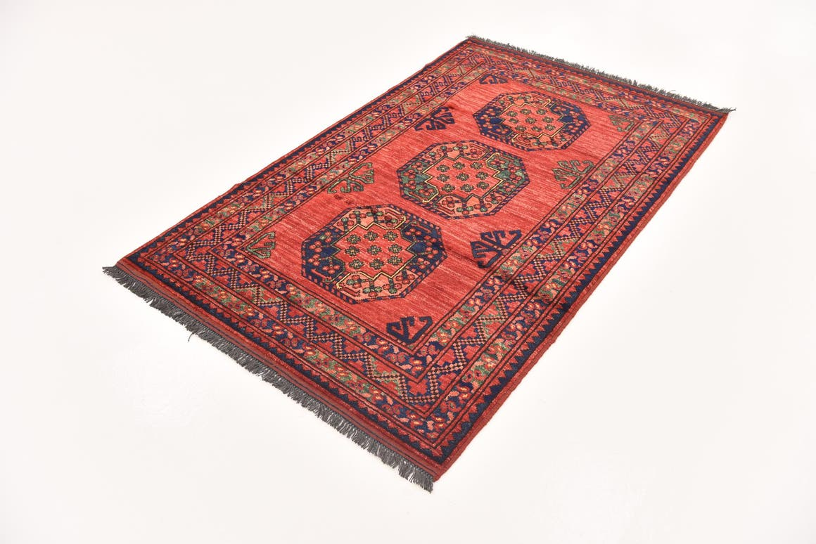 Red  3' 9 x 6' 1 Afghan Ersari