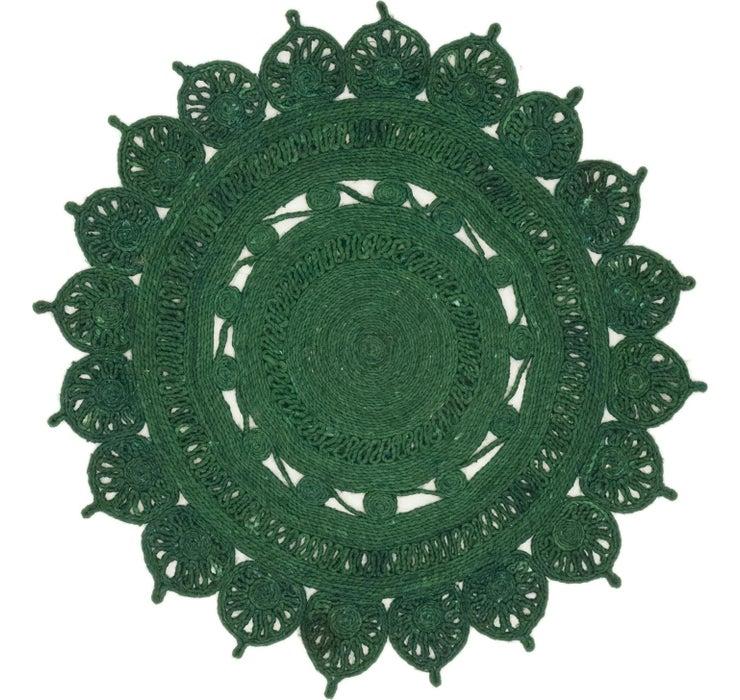Image of 132cm x 132cm Braided Jute Round Rug