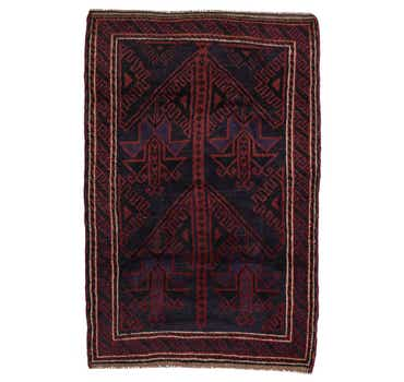 Image of 90cm x 135cm Balouch Persian Rug
