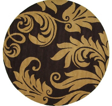 Image of  Brown Floral Agra Round Rug
