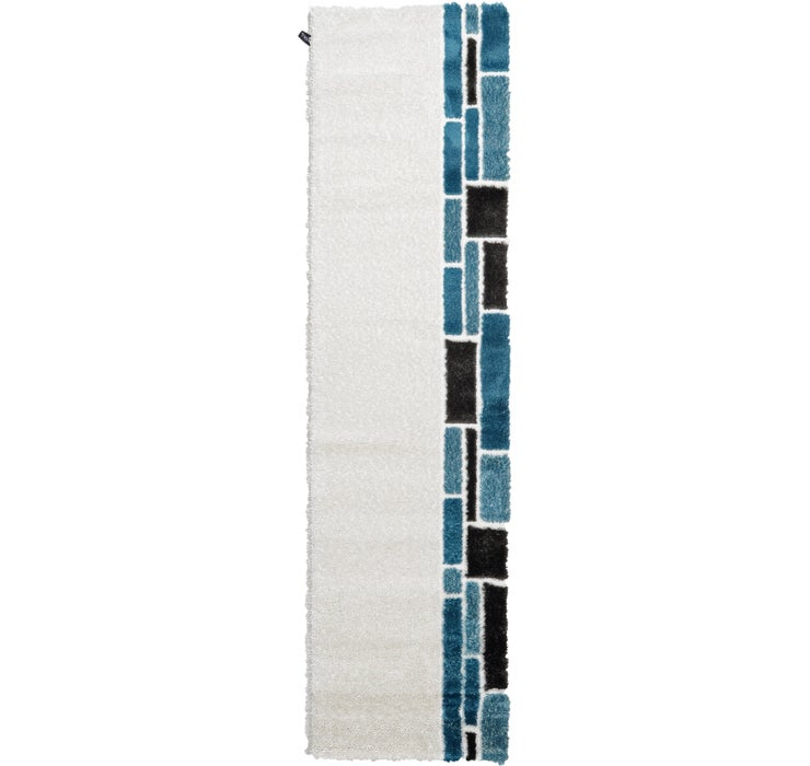 2' 7 x 9' 10 Abstract Shag Runner Rug
