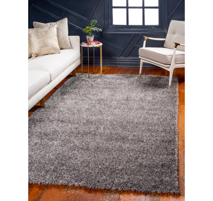 Gray Luxury Solid Shag Rug