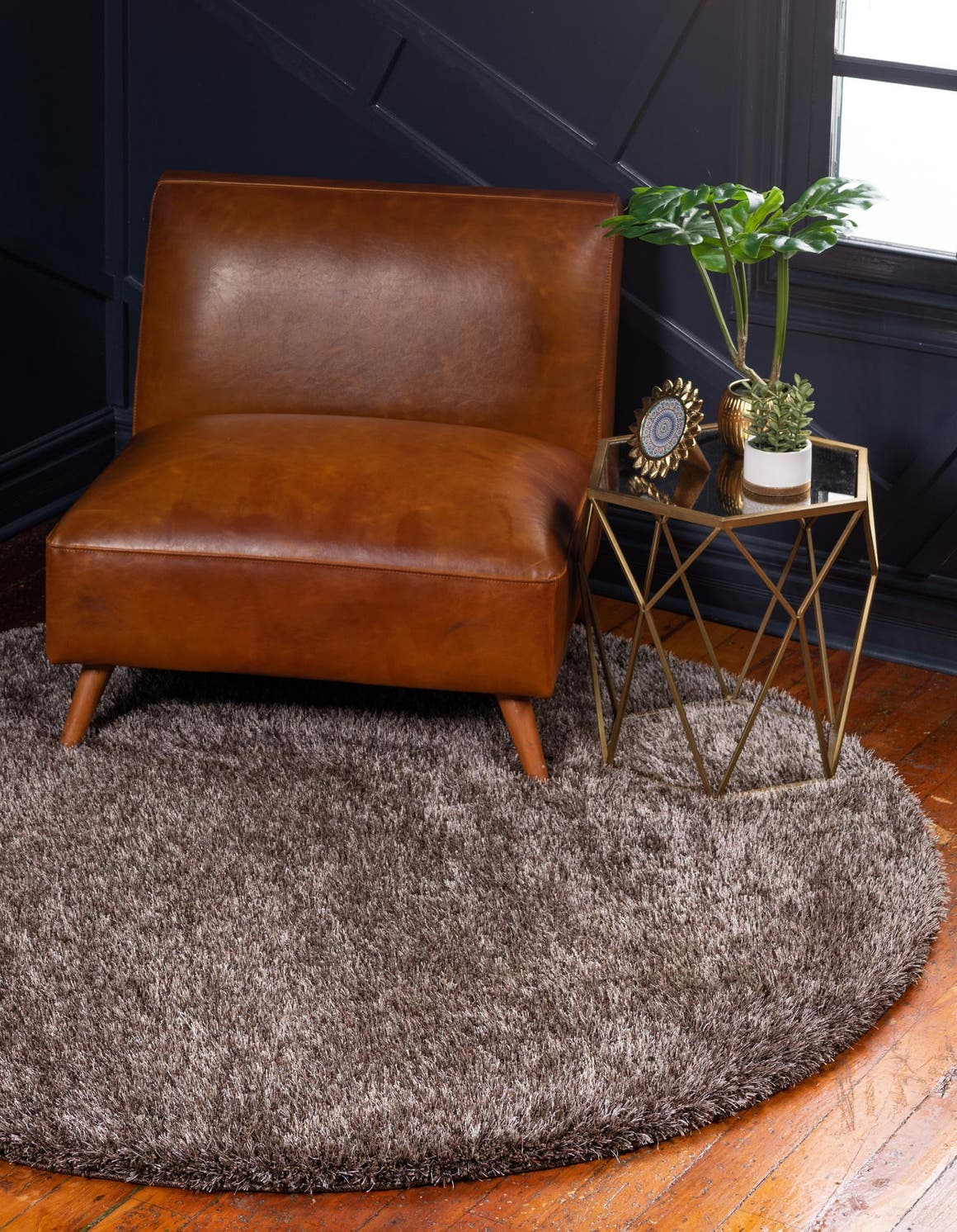 6' x 6' Luxe Solid Shag Round Rug main image