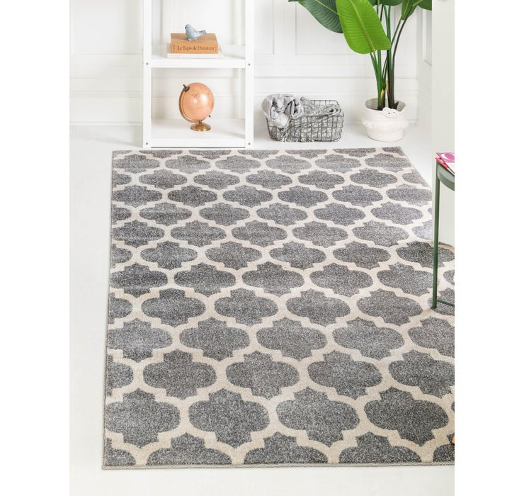 Dark Gray Lattice Rug