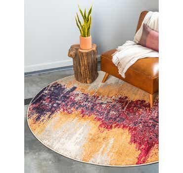 Orange Hyacinth Round Rug