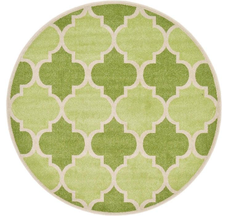 Green Lattice Round Rug