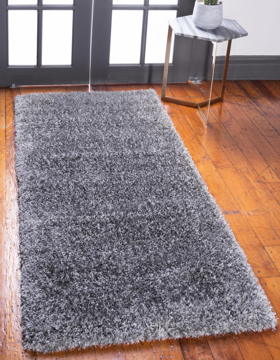 2' 7 x 10' Luxe Solid Shag Runner Rug main image